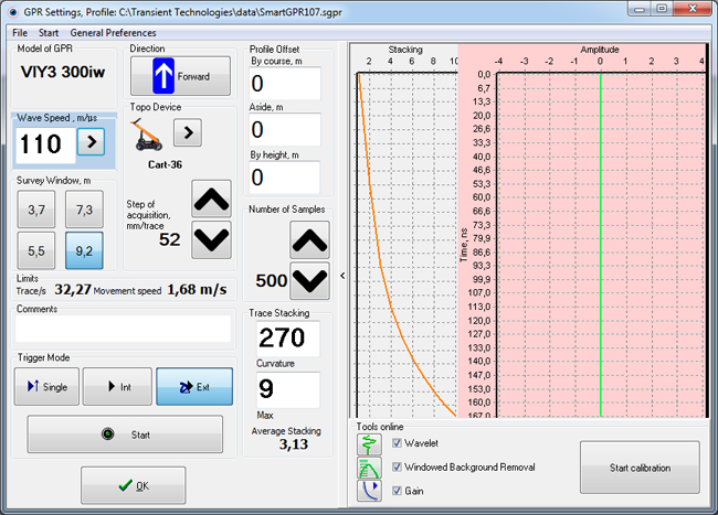 GPR settings for Synchro program, advanced version