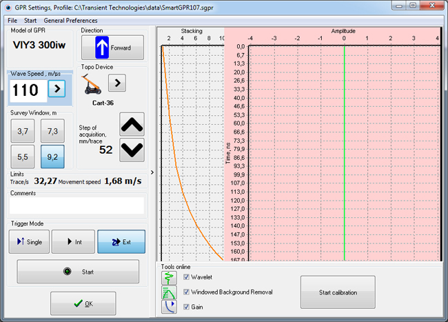 GPR settings for Synchro, basic version