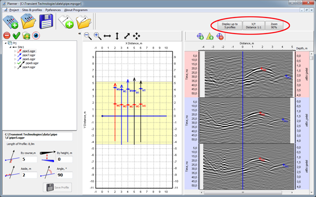 Interface of Planner program for VIY3 GPR