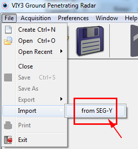 SEG-Y files import from Synchro program