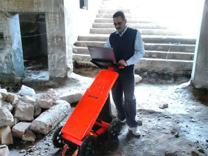 Exploration wih VIY3 ground penetrating radar before construction